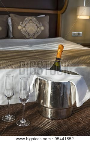 Champagne in a hotel room