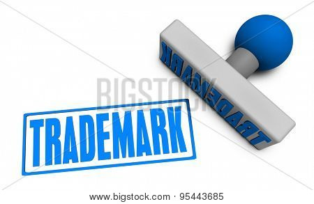 Trademark Stamp or Chop on Paper Concept in 3d