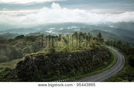 Fog over the Doi Inthanon mountain,Chiangmai Thailand.