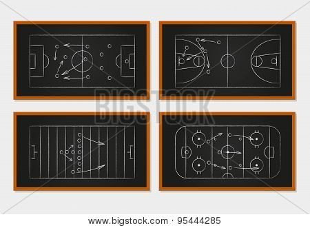 Basketball, soccer, football and ice hockey courts on chalkboard or board. Sport tactics