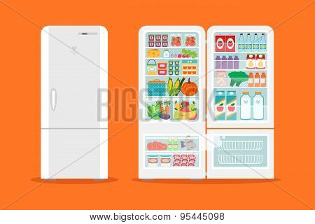 Full of food opened refrigerator