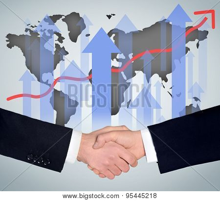 Handshake and world map graphic