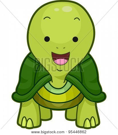 Cutesy Illustration of a Little Turtle Smiling Widely