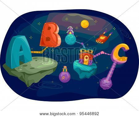 Illustration of Letters of the Alphabet Converging in Outer Space