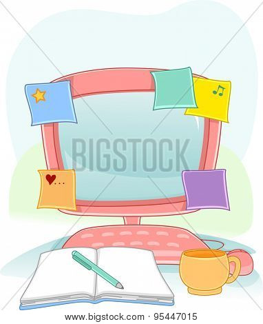 Illustration of a Computer Monitor with Sticky Notes Sticking to It