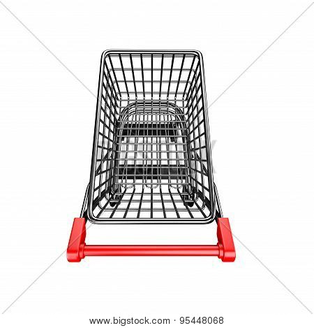 3D Empty Shopping Cart High Angle View