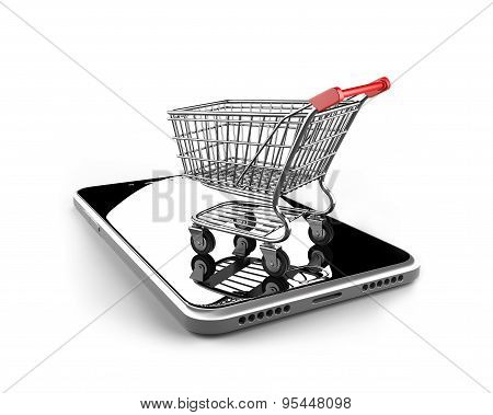 Shopping Cart With Smart Phone Of Black Glass