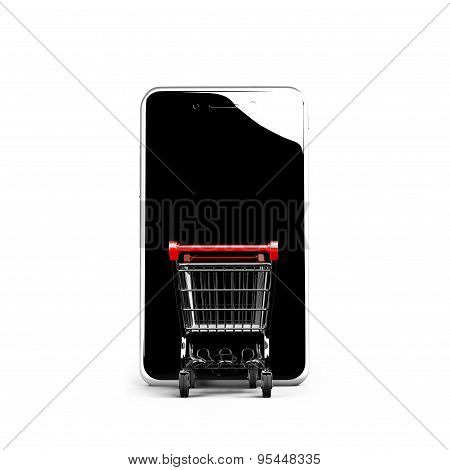 Shopping Cart Going Into Smart Phone With Black Glass Touchscreen