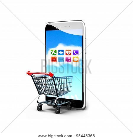 Shopping Cart And Smart Phone With Colorful App Icons Touchscreen