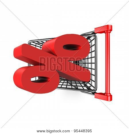 3D Red Percentage Sign In The Shopping Cart