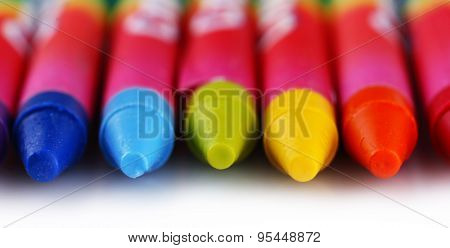 Colorful pastel crayons isolated on white