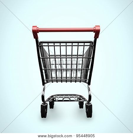 3D Empty Shopping Cart Rear View