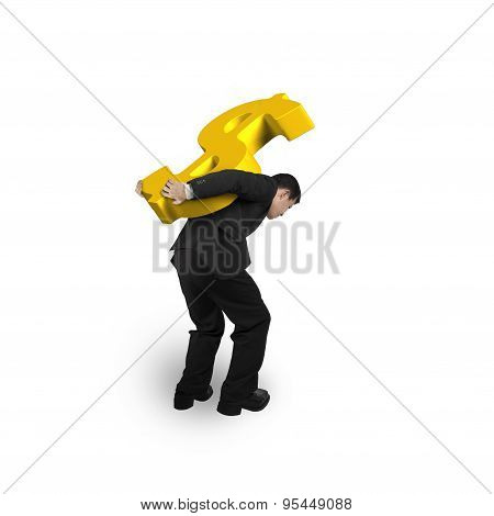 Business Man Carrying Gold Dollar Sign Isolated On White