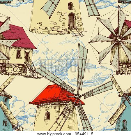 Wind mill pattern, sky and clouds background