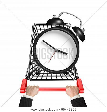 Hands Pushing Shopping Cart With Alarm Clock