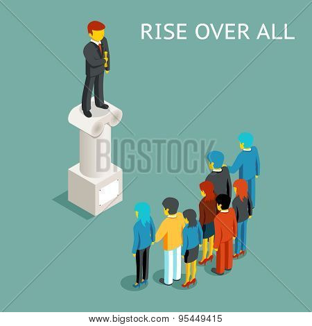 Orator public speech. Flat isometric vector illustration