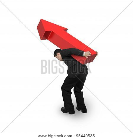 Business Man Carrying 3D Red Arrow Up Sign