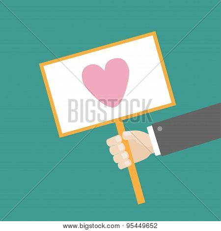 Businessman Hand Holding Paper Blank Sign Plate With Heart On The Stick Flat Design