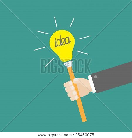 Businessman Hand Holding Paper Idea Light Bulb On The Stick Shining Effect Flat Design