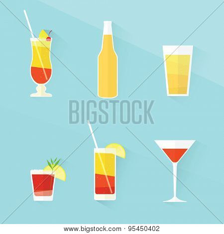 cocktail icon set. flat design