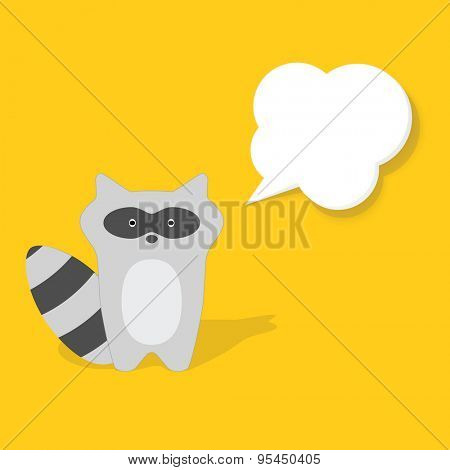 cartoon raccoon flat paper image