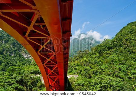 Red Bridge Across Mountains
