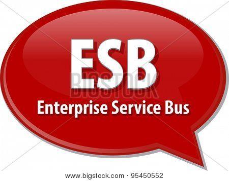 Speech bubble illustration of information technology acronym abbreviation term definition ESB Enterprise Service Bus
