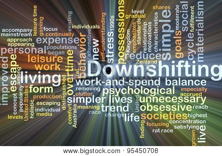 Background concept wordcloud illustration of downshifting glowing light