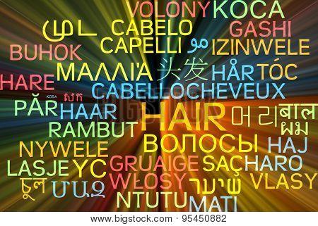 Background concept wordcloud multilanguage international many language illustration of hair glowing light