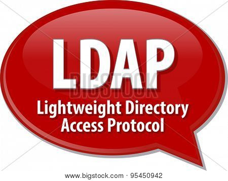 Speech bubble illustration of information technology acronym abbreviation term definition LDAP Lightweight Directory Access Protocol