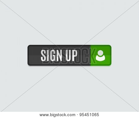 Sign up web button, rectangle. Modern flat design website icon and design element