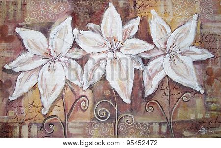 White Lilies On Brown Background. Acryl Painting.