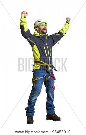 happy tourist in helmet and alpinist equipment raising his hands up and screaming. isolated on white background
