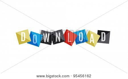 Download word on squares banner, web button. Web button or message for online web site, presentation or application