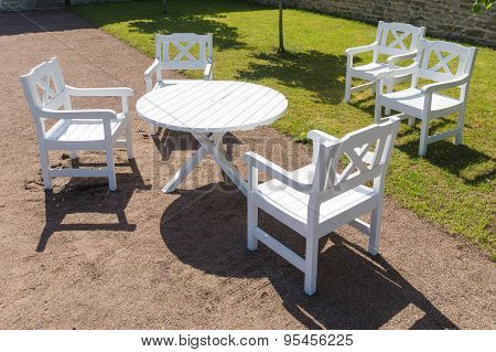 White Round Table And Chairs In Garden, Terrace Furniture