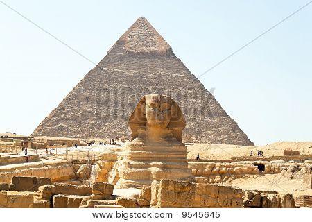 Egypt, Giza, Cheops And Chephrenpyramide