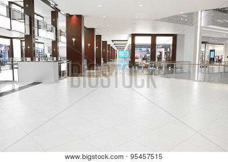MOSCOW, RUSSIA  -  MARCH 26, 2015: Interior of the Crocus City Mall - one of the biggest business centers in Moscow, Russia