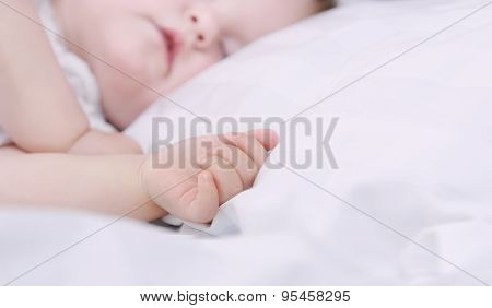 Close Up Little Hand Of Sleeping Cute Baby