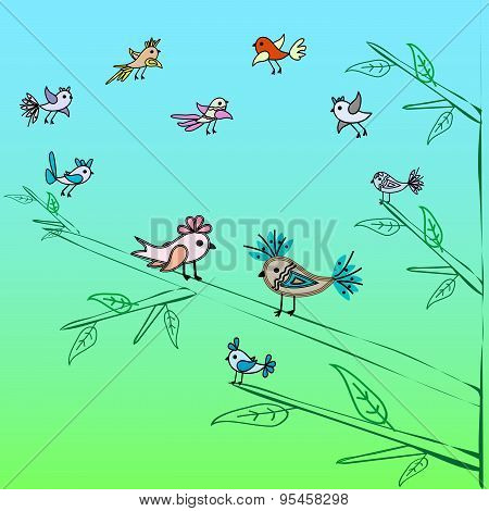 Cute little birds family tree nature background