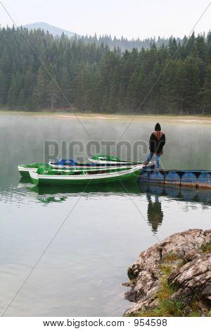 Girl On Boat Dock