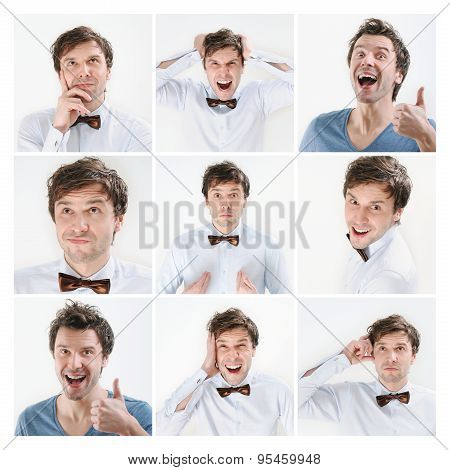Collage Of Emotional Portrait Of Young Man