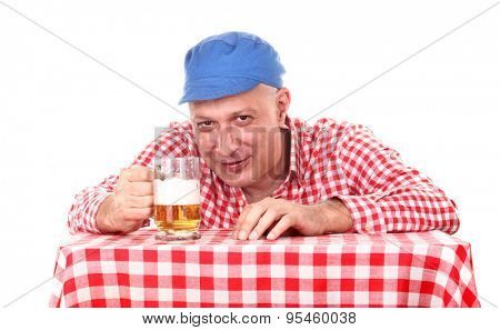 Man is drinking beer