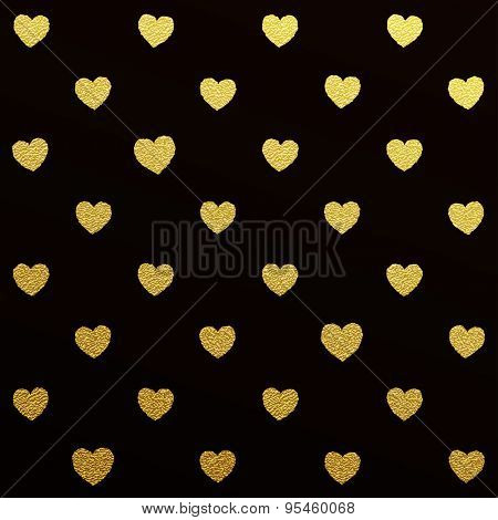 Gold glittering seamless pattern of hearts on black background.