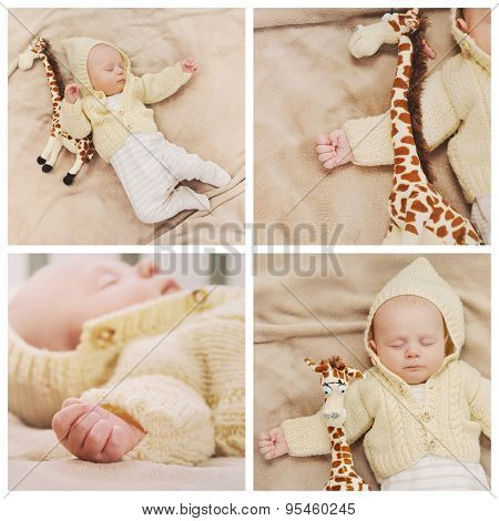 Collage Of Little Cute Baby Boy Sleeping With Giraffe Toy
