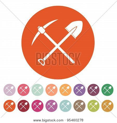 The Crossing Spade Pickax Icon. Pickax And Excavation, Digging, Mining Symbol. Flat