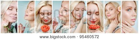 Collage Of Sensual Tender Delicate Woman Enjoying Her Perfume