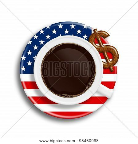 Coffee In Usa Flag Cup With Dollar Cookie Isolated Over White