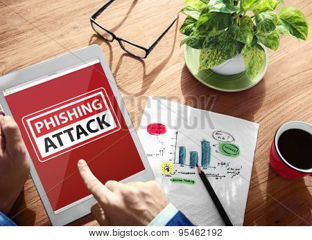 Warning Phishing Attack Digital Device Wireless Browsing Concept