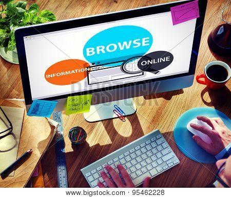 Browse Browser Searching Information Connection Web Concept
