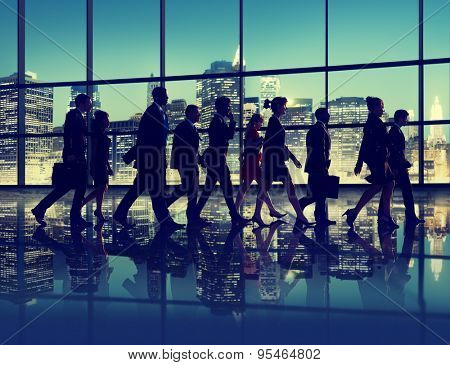 Silhouette Business People Commuter Walking Rush Hour Concept